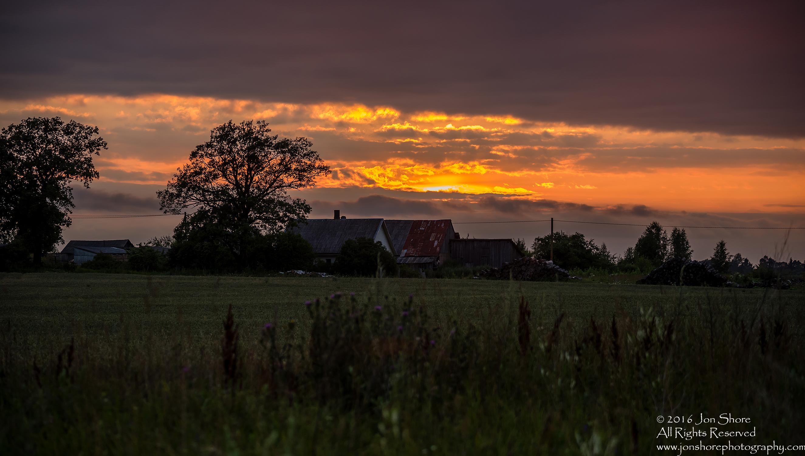 Farm sunset Latvia