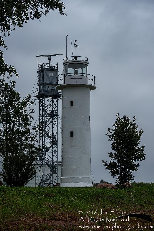 Lighthouse and radar tower on Estonian Russian border