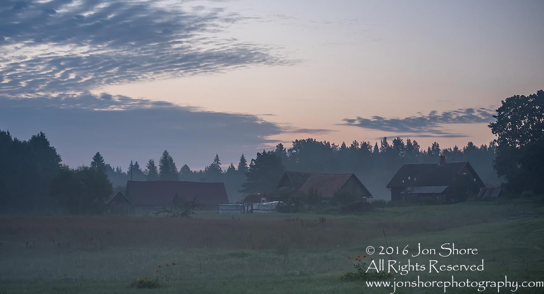 Latgale Farm in the Fog. Latvia. Tamron 200mm