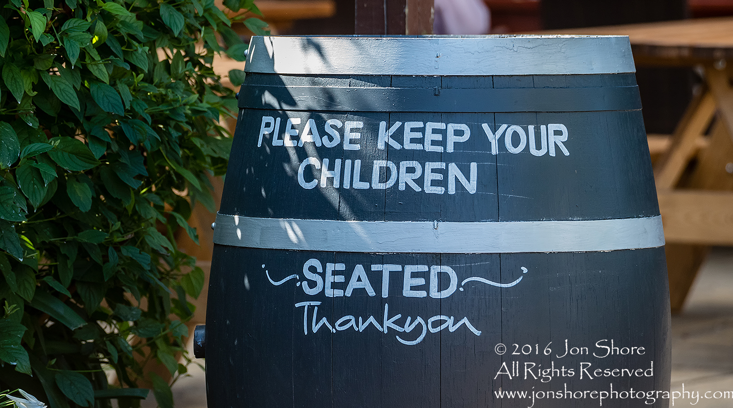 Keep Your Kids Seated Barrel Tamron 200mm Lens