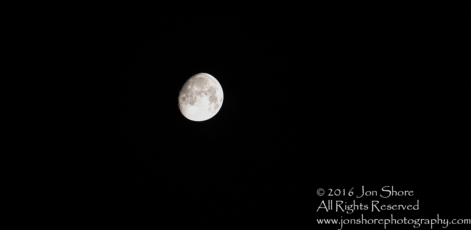 Moon in the Blackness of Space. Tamron 300mm lens