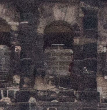 Porta Nigra Roman Wall, Trier, Germany with ghost on 3rd floor.