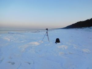 Set up to video the frozen beach. -6 degrees and windy.