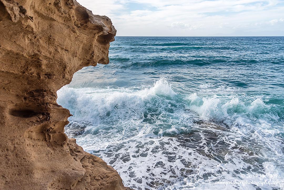 Waves on rocks San Marco di Castellabate Cilento Italy March 2018