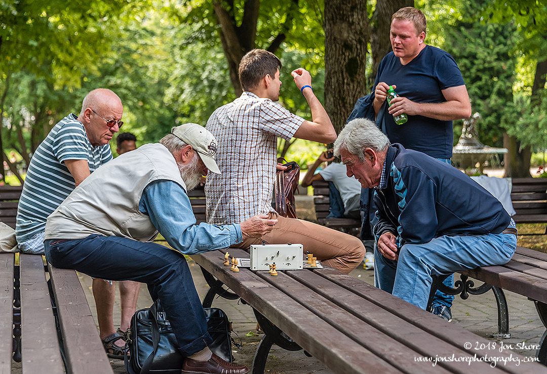 Playing Chess in a park in Riga, Latvia in the Summer