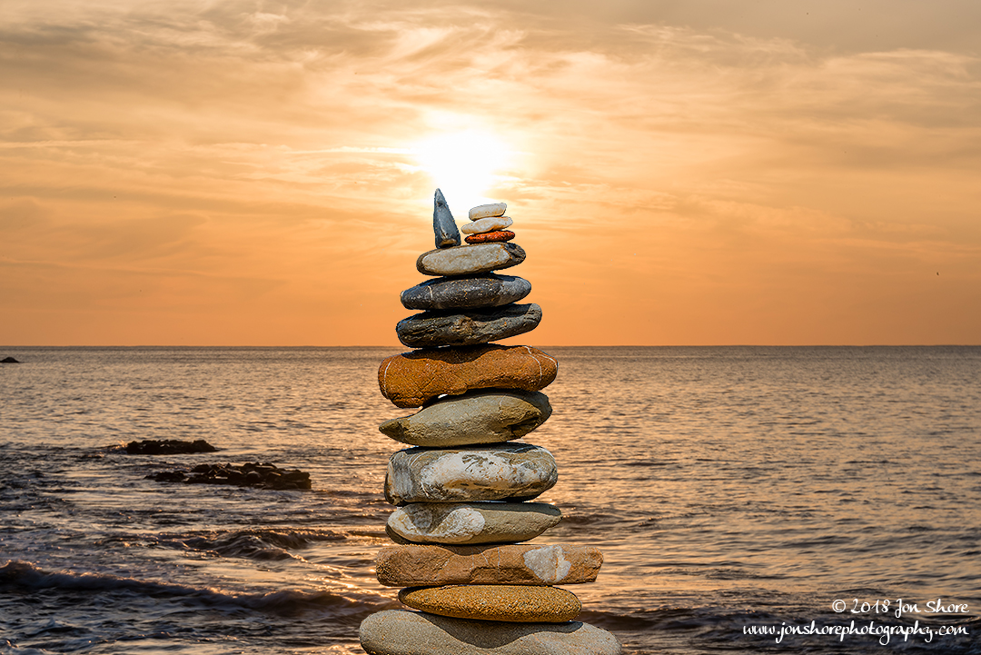 Stone stack Sunset Spring San Marco di Castellabate Italy