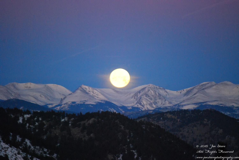 Moon set in the Rockies. Nikkor 200mm