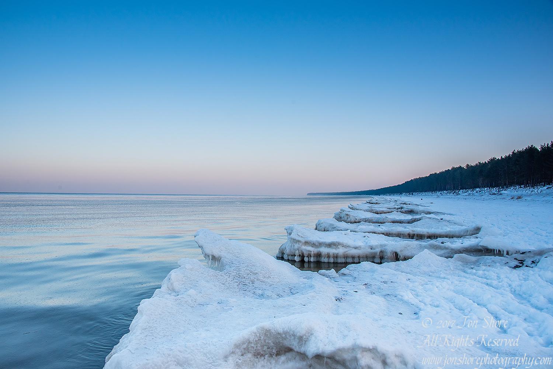 Winter at a Frozen Baltic Sea Beach. Nikkor 28mm