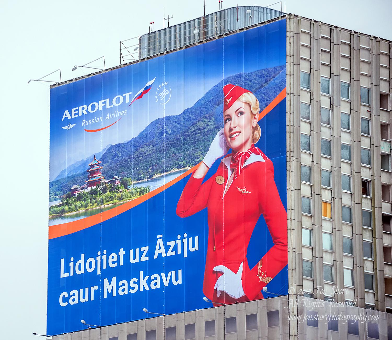 Aeroflot Billboard in Riga, Latvia, Nikkor 300mm