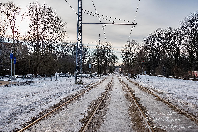 Railroad Tracks in Riga Latvia in January. Nikkor 35mm